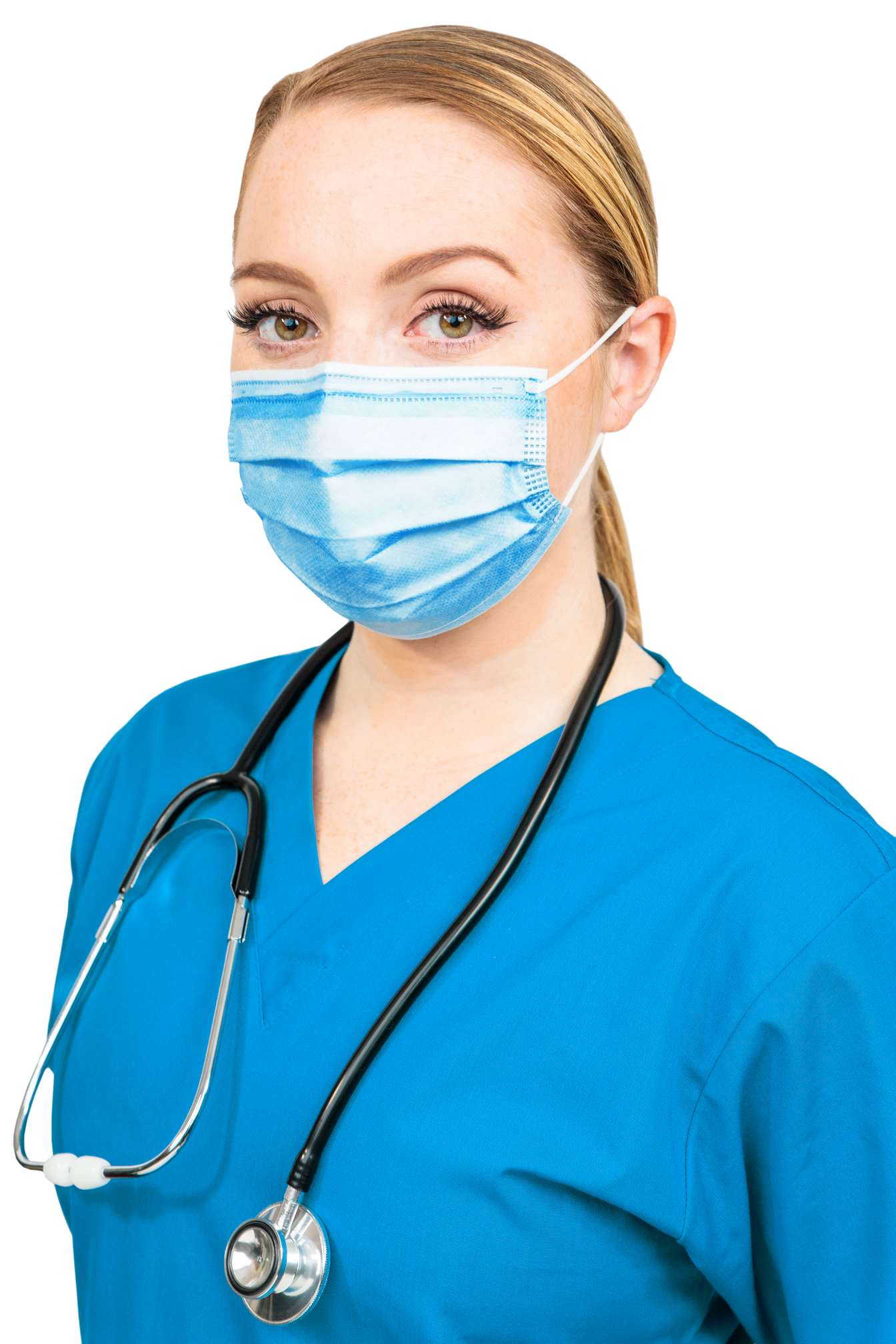 procedure mask on woman medical professional looking towards the camera