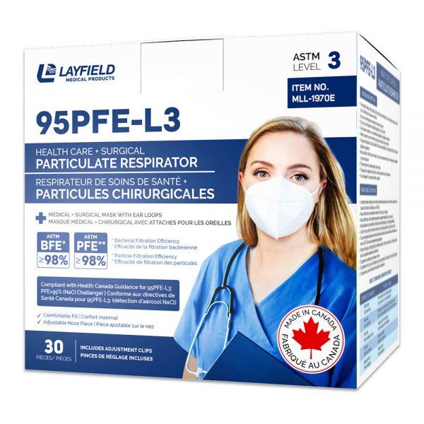 95PFE-L3 Respirator with Ear Loop box